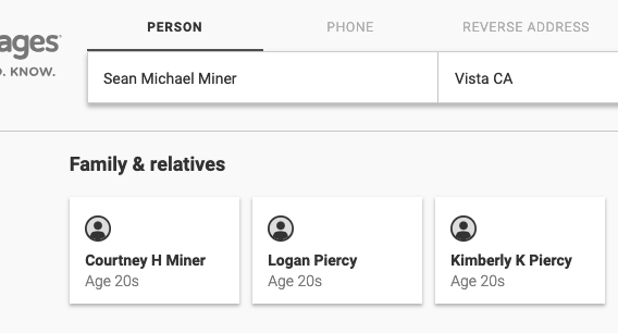 Sean Michael Miner, brother of Courtney Piercy: Keeping